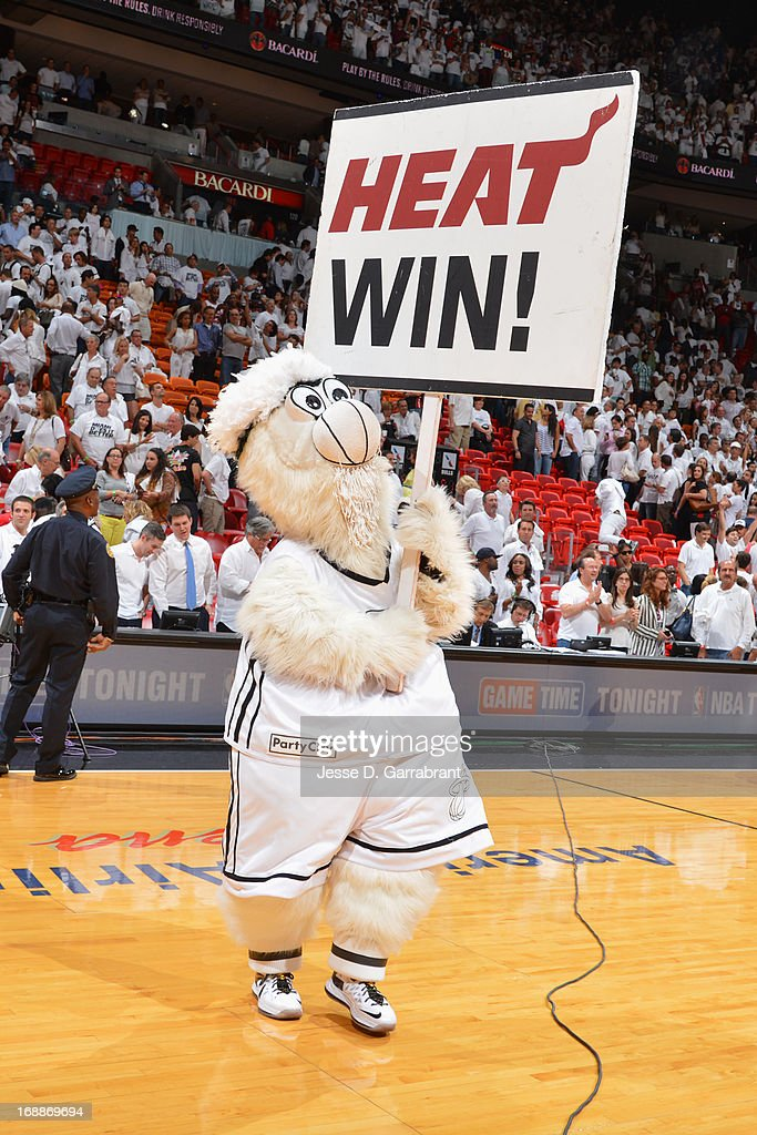 The Miami Heat mascot during the game against the Chicago Bulls in Game Five of the Eastern Conference Semifinals during the 2013 NBA Playoffs on May 15, 2013 at American Airlines Arena in Miami, Florida.