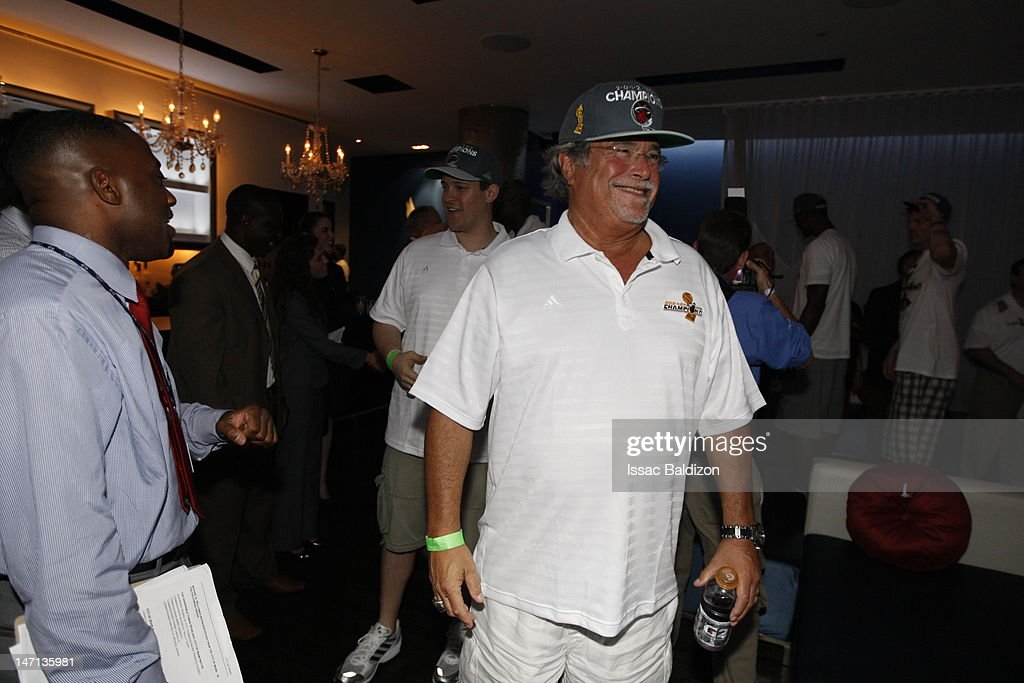 The Miami Heat owner Micky Arison smiles backstage during a rally for the 2012 NBA Champions Miami Heat at American Airlines Arena on June 25, 2012 in Miami, Florida.