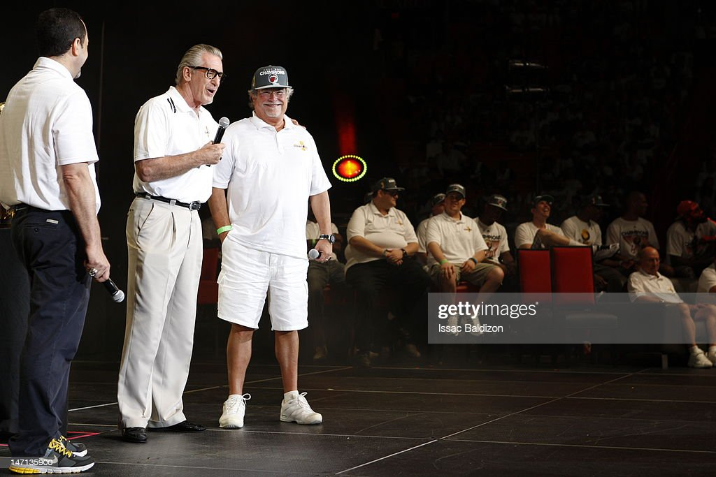The Miami Heat President Pat Riley and the Miami Heat owner Micky Arison speak on stage during a rally for the 2012 NBA Champions Miami Heat at American Airlines Arena on June 25, 2012 in Miami, Florida.