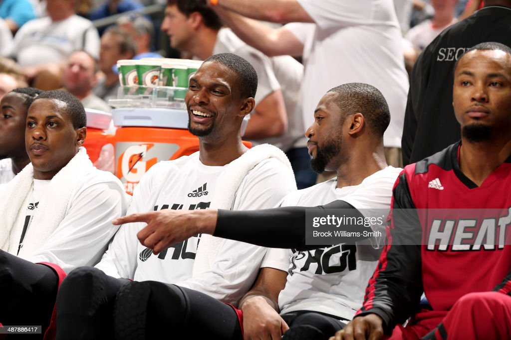 The Miami Heat sit on the sideline during a game against the Charlotte Bobcats in Game Three of the Eastern Conference Quarterfinals of the 2014 NBA playoffs at the Time Warner Cable Arena on April 26, 2014 in Charlotte, North Carolina.