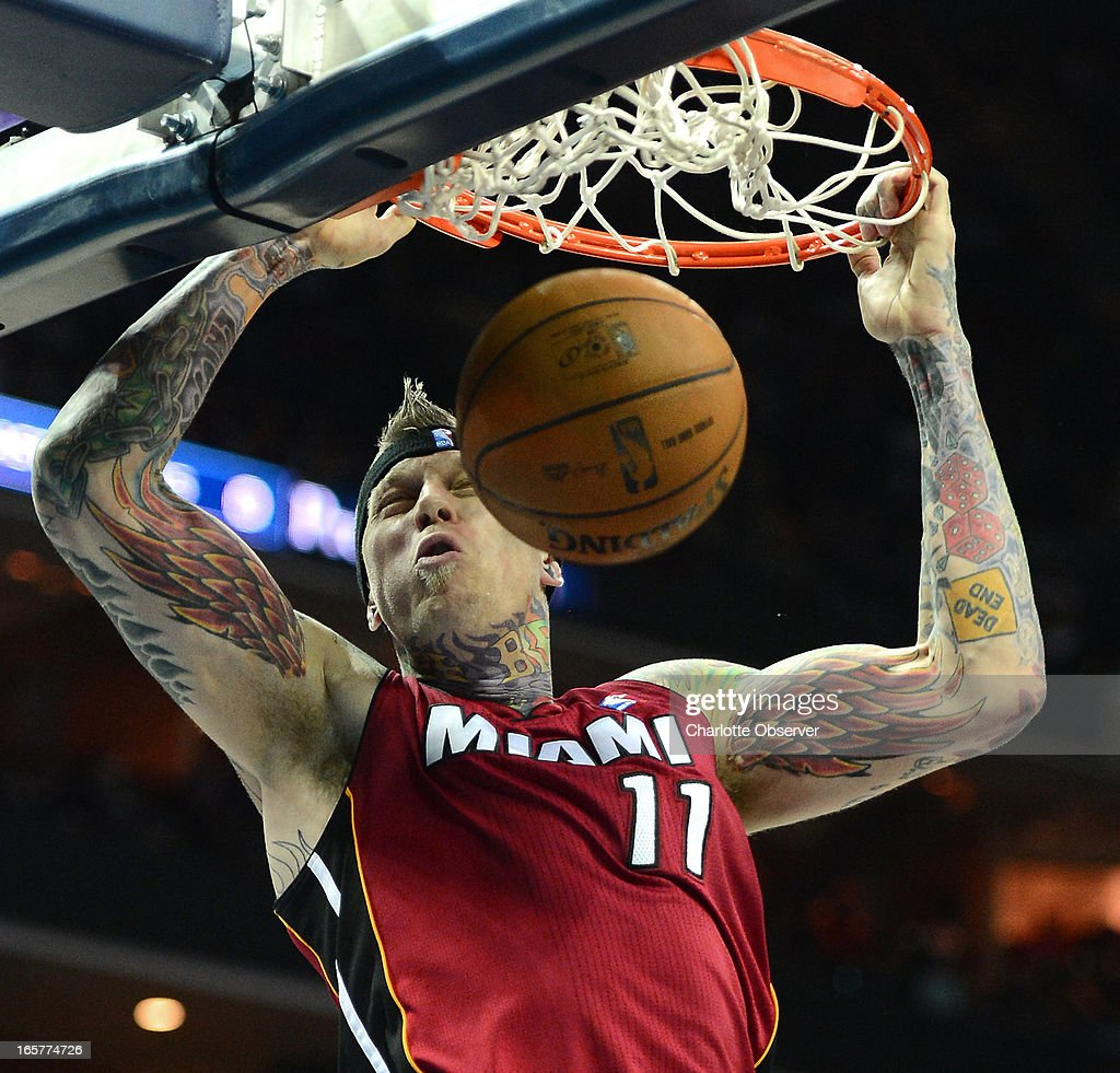 The Miami Heat's Chris Andersen throws down a two-handed dunk against the Charlotte Bobcats during second-half action on Friday, April 5, 2013 at Time Warner Cable Arena in Charlotte, North Carolina. Miami won, 89-79.