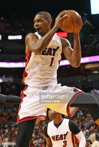The Miami Heat's Chris Bosh gets a rebound on at AmericanAirlines Arena in Miami on January 31 2016 After a sevenyear relationship the team announced...