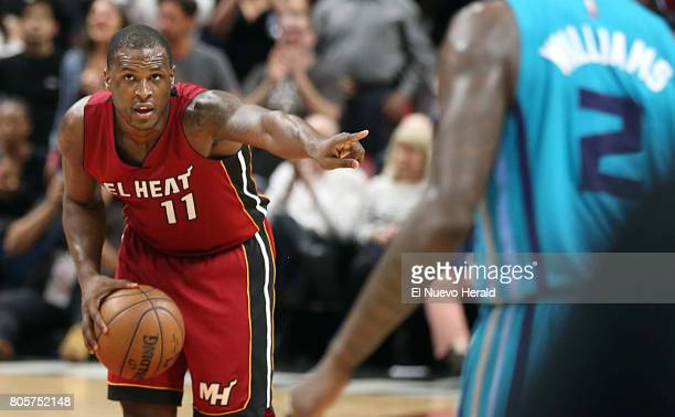 The Miami Heat's Dion Waiters directs traffic against the Charlotte Hornets in the fourth quarter at AmericanAirlines Arena in Miami on Wednesday...
