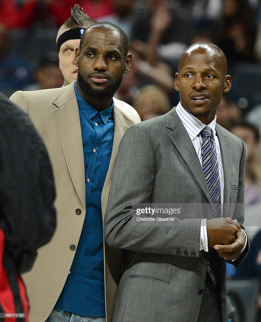 The Miami Heat's LeBron James, left, and Ray Allen did not play against the Charlotte Bobcats on Friday, April 5, 2013 at Time Warner Cable Arena in Charlotte, North Carolina. Miami won, 89-79.