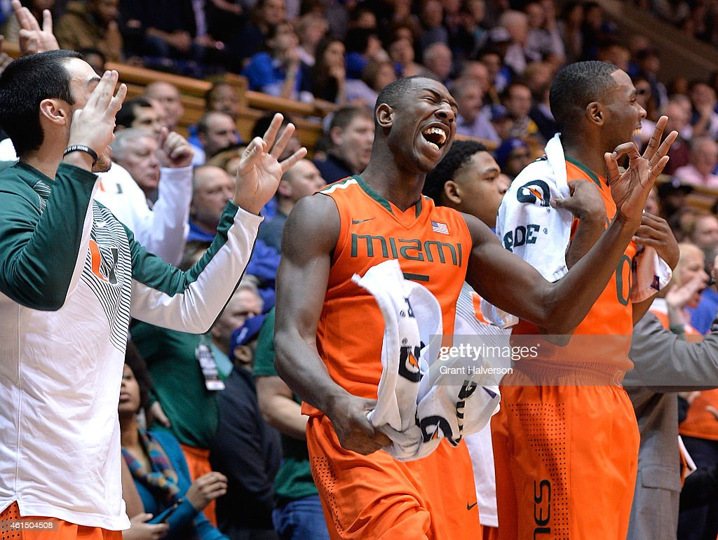 The Miami Hurricanes bench reacts during their win against the Duke Blue Devils at Cameron Indoor Stadium on January 13 2015 in Durham North Carolina...