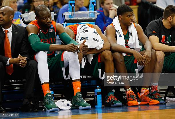 The Miami Hurricanes bench reacts in the second half against the Villanova Wildcats during the 2016 NCAA Men's Basketball Tournament South Regional...