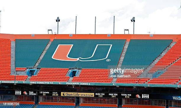 The Miami Hurricanes logo on a tarp in the upper deck of Sun Life Stadium prior to the game against the Savannah State Tigers on September 21 2013 in...