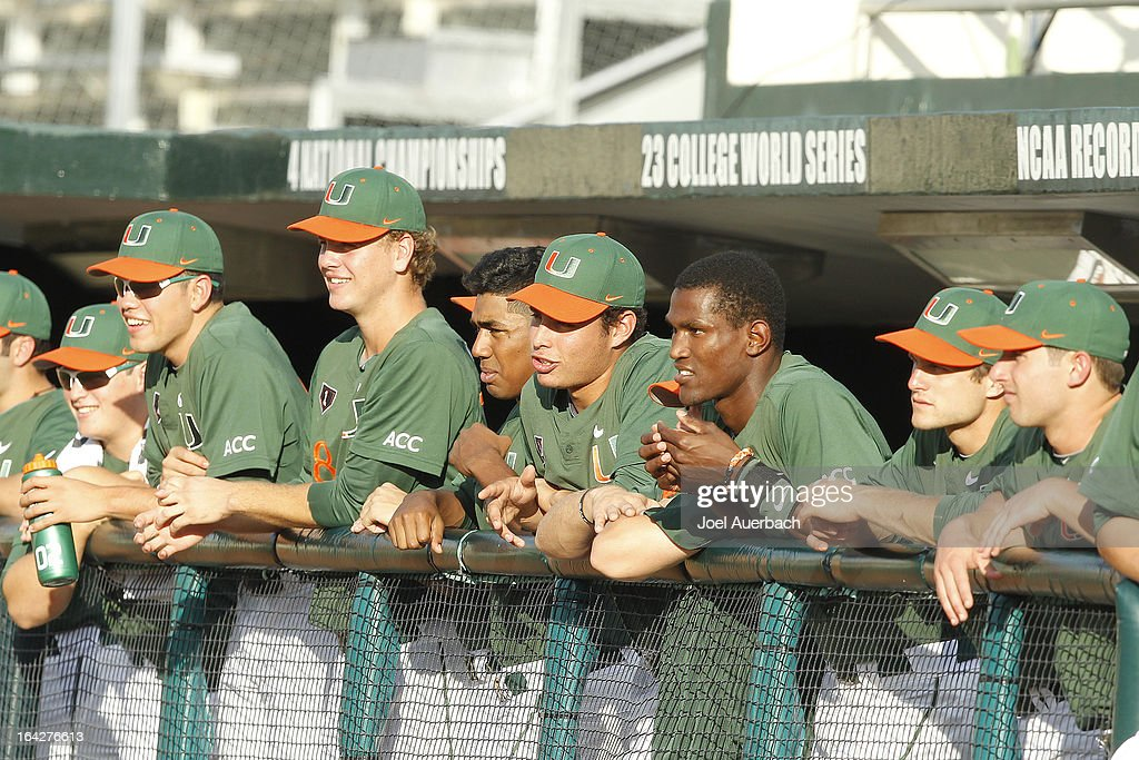 The Miami Hurricanes look on during first inning actin against the Columbia Lions on March 19, 2013 at Alex Rodriguez Park at Mark Light Field in Coral Gables, Florida. Miami defeated Columbia 9-6.