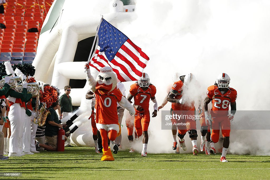 The Miami Hurricanes mascot, 'Sebastian the Ibis' leads the players onto the field for their game against the South Florida Bulls on November 17, 2012 at Sun Life Stadium in Miami Gardens, Florida. The Hurricanes defeated the Bulls 40-9.