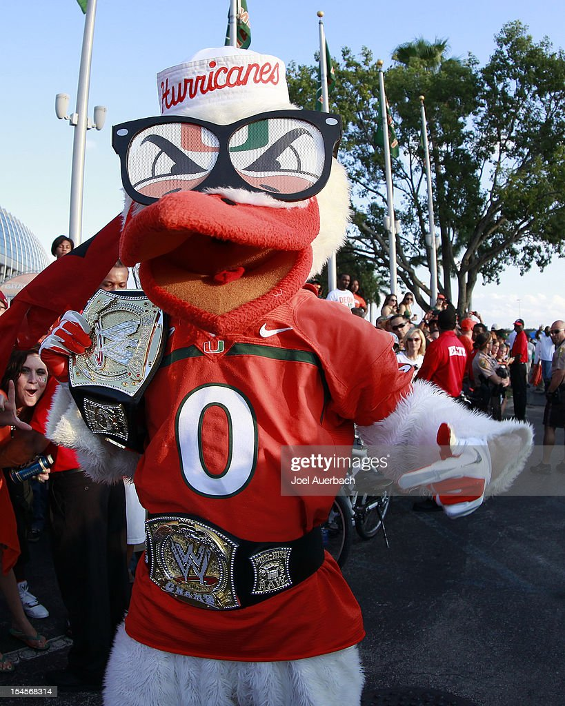 The Miami Hurricanes mascot 'Sebastian the Ibis' wears championship belts out side of the stadium while waiting for the team arrive for their game against of the Florida State Seminoles on October 20, 2012 at Sun Life Stadium in Miami Gardens, Florida. The Seminoles defeated the Hurricanes 33-20.