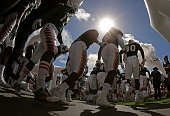 The Miami Hurricanes take the field during a game against the Clemson Tigers at Sun Life Stadium on October 24 2015 in Miami Gardens Florida