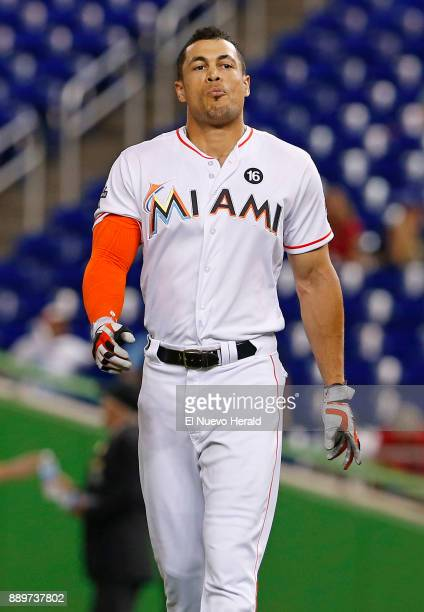 The Miami Marlins' Giancarlo Stanton after the third inning against the Washington Nationals at Marlins Park in Miami on Tuesday Sept 5 2017