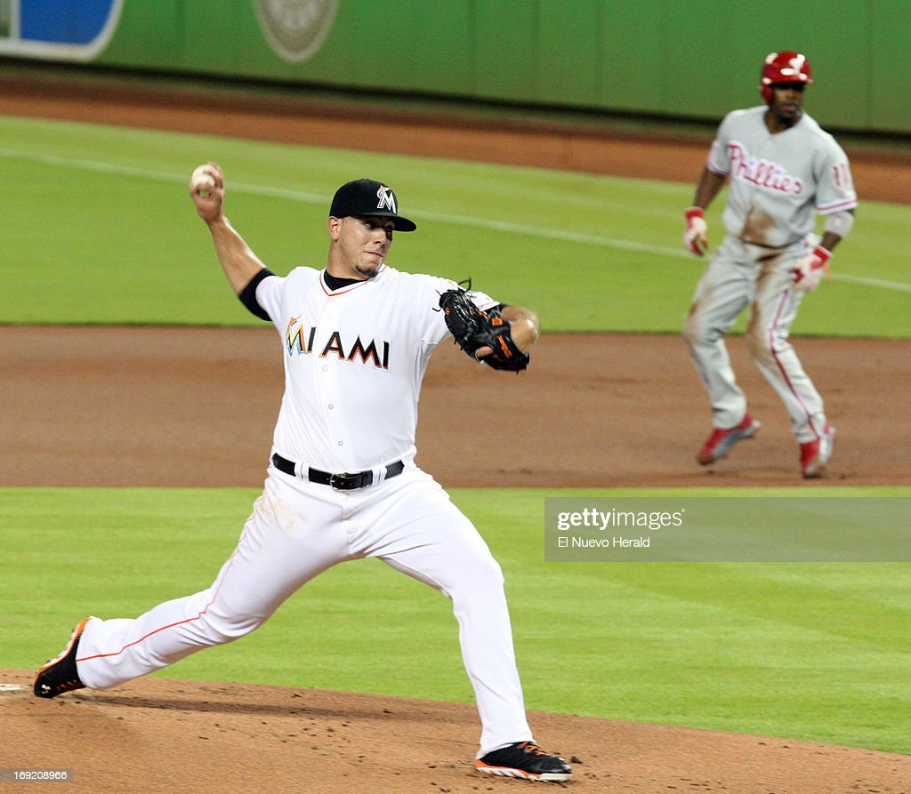 The Miami Marlins' Jose Fernandez pitches in the third inning against the Philadelphia Phillies at Marlins Park in Miami, Florida, on Tuesday, May 21 2013.