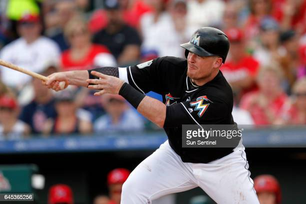 The Miami Marlins' Justin Bour at the plate against the St Louis Cardinals during spring training at Roger Dean Stadium in Jupiter Fla on Saturday...