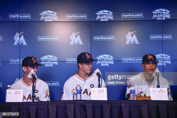The Miami Marlins top three draft picks Brian Miller Trevor Rogers and Joe Dunand visit Marlins Park for a press conference before the game between...