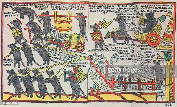 'The Mice are burying the Cat' Lubok print 1760 Lubok prints were Russian popular prints with simple graphics portraying stories derived from...