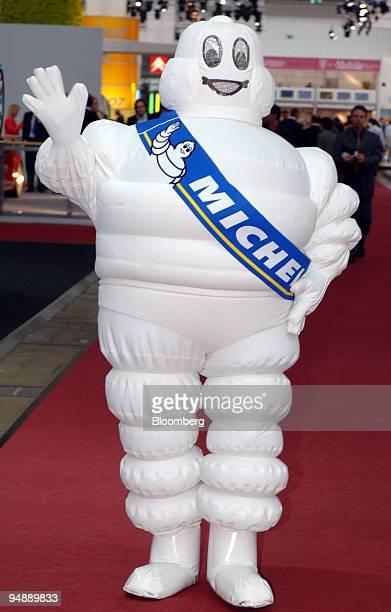 The Michelin Man poses at the IAA Frankfurt Car Show in Frankfurt Germany Wednesday September 14 2005