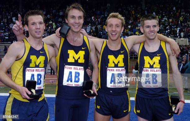 The Michigan men's 4 x mile relay Nate Brannen Nick Willis Mike Woods and Andrew Ellerton pose after setting of a collegiate record of 160454 in the...