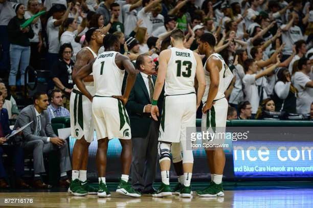 The Michigan State Spartans huddle around head coach Tom Izzo during a college basketball game between Michigan State and North Florida on November...