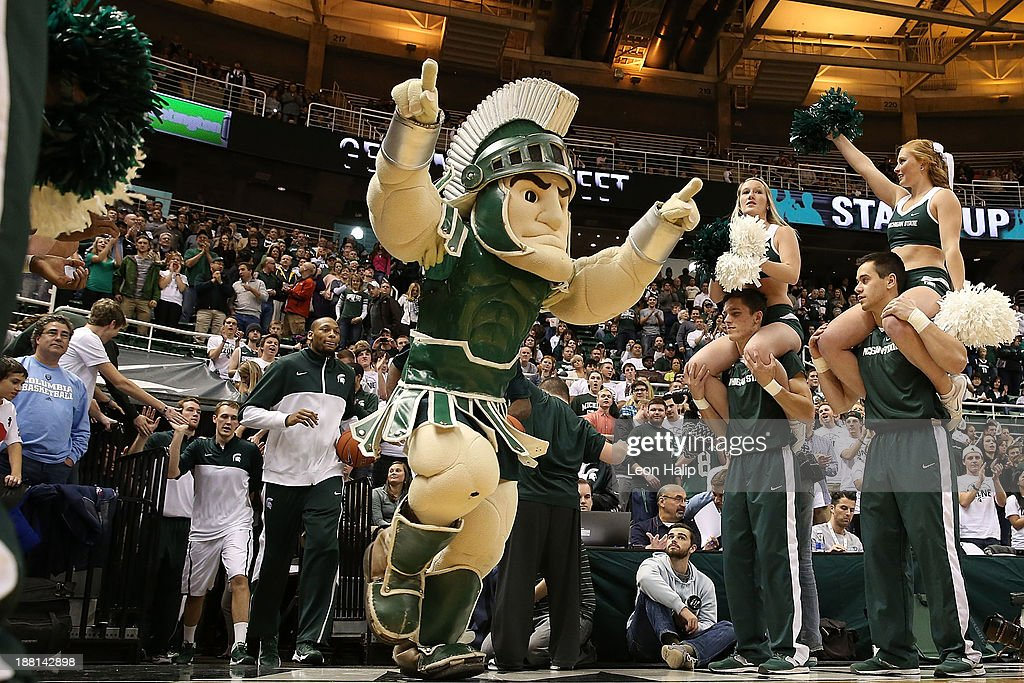 The Michigan State Spartans mascot Sparty leads the team onto the court prior to the start of the game against the Columbia Lions at Breslin Center on November 15, 2013 in East Lansing, Michigan. Michigan State defeated Columbia 62-53.