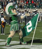 The Michigan State Spartans mascot Sparty performs during the game against the Northwestern Wildcats at Spartan Stadium on October 17 2009 in East...