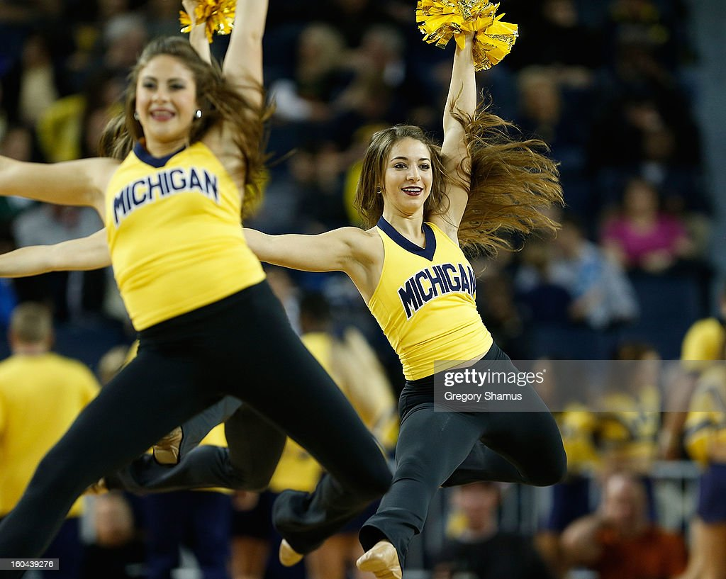 The Michigan Wolverine dance team performs while playing the Eastern Michigan Eagles at Crisler Center on December 20, 2012 in Ann Arbor, Michigan.