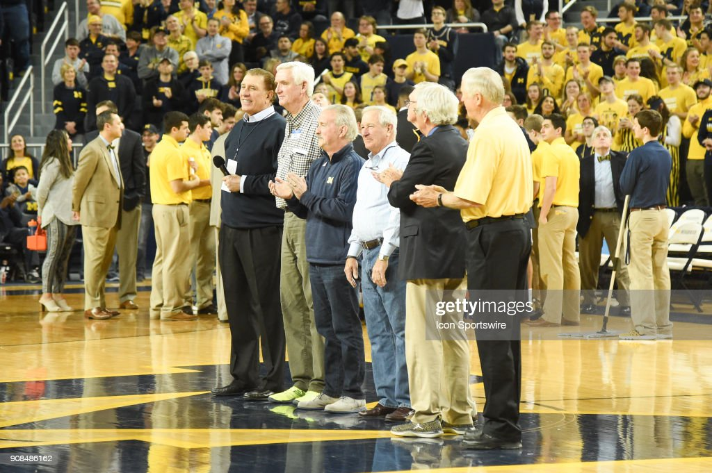 The Michigan Wolverines 1967 team with Rudy Tomjanovich (far left) is recognized during a timeout during the Michigan Wolverines game versus the Rutgers Scarlet Knights on Sunday January 21, 2018 at Crisler Center Field in Ann Arbor, MI.