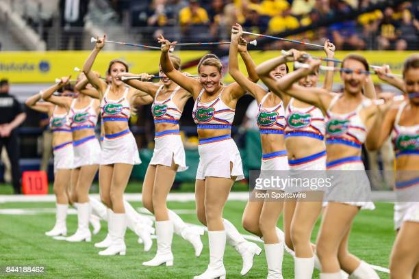 The Michigan Wolverines band performs before the game between the Michigan Wolverines and the Florida Gators on September 2 2017 at ATT Stadium in...