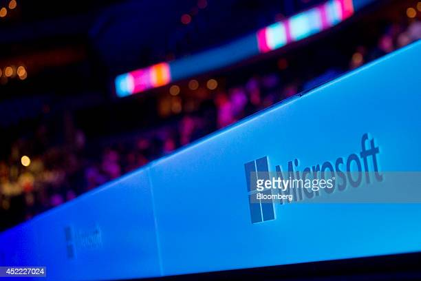 The Microsoft Corp logo is displayed before a keynote session at the Microsoft Worldwide Partner Conference in Washington DC US on Wednesday July 16...