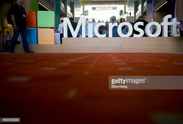 The Microsoft Corp logo sits on display during the Microsoft Worldwide Partner Conference in Washington DC US on Wednesday July 16 2014 Microsoft...