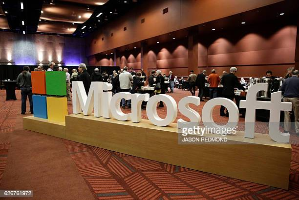 The Microsoft logo is pictured at the Microsoft Annual Shareholders Meeting in Bellevue Washington on November 30 2016 / AFP / Jason Redmond