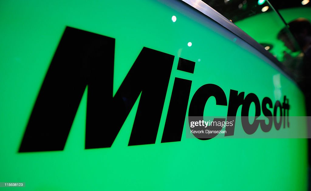 The Microsoft logo is seen at the XBOX 360 booth during the Electronic Entertainment Expo on June 7, 2011 in Los Angeles, California. More than 45,000 people are expected to attend the annual three-day convention to see the latest games and announcements from the gaming industry.