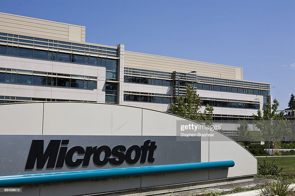 The Microsoft name is displayed on a sign outside a building on the company's campus July 29 2009 in Redmond Washington Microsoft and Yahoo have...
