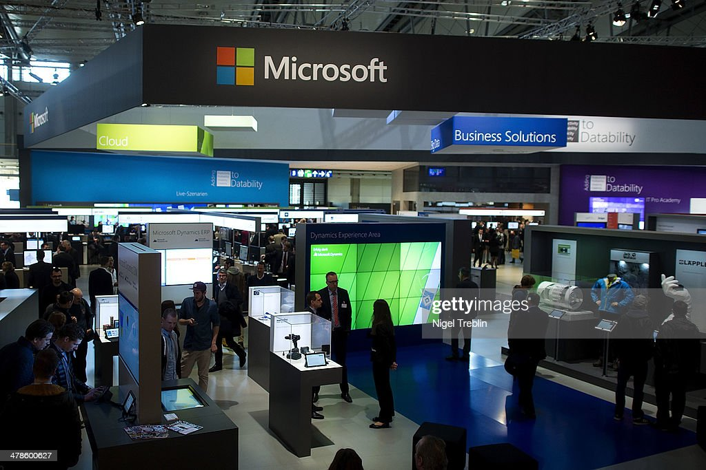 The Microsoft stand is pictured at the 2014 CeBIT technology Trade fair on March 14, 2014 in Hanover, Germany. CeBIT is the world's largest technology fair and this year's partner nation is Great Britain.