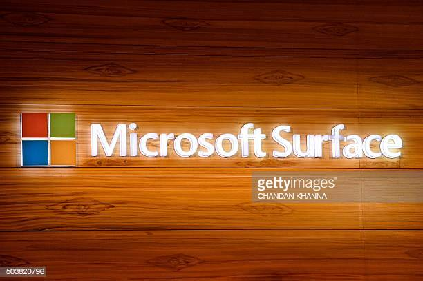 The Microsoft Surface logo is seen during the launch of the Microsoft Surface Pro 4 tablet in the Indian capital New Delhi on January 7 2016 AFP...