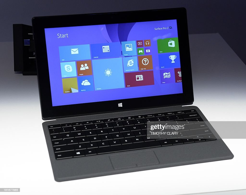 The Microsoft Surface pro 2 is seen during a news conferece in New York September 23, 2013 where it was introduced by Microsoft vice president Panos Panay in New York September 23, 2013. The tablet is a full laptop in a tablet design, said Panay, who added that the graphics performance is 50 percent better and its battery life 20 percent longer than its predecessor. AFP PHOTO / TIMOTHY CLARY