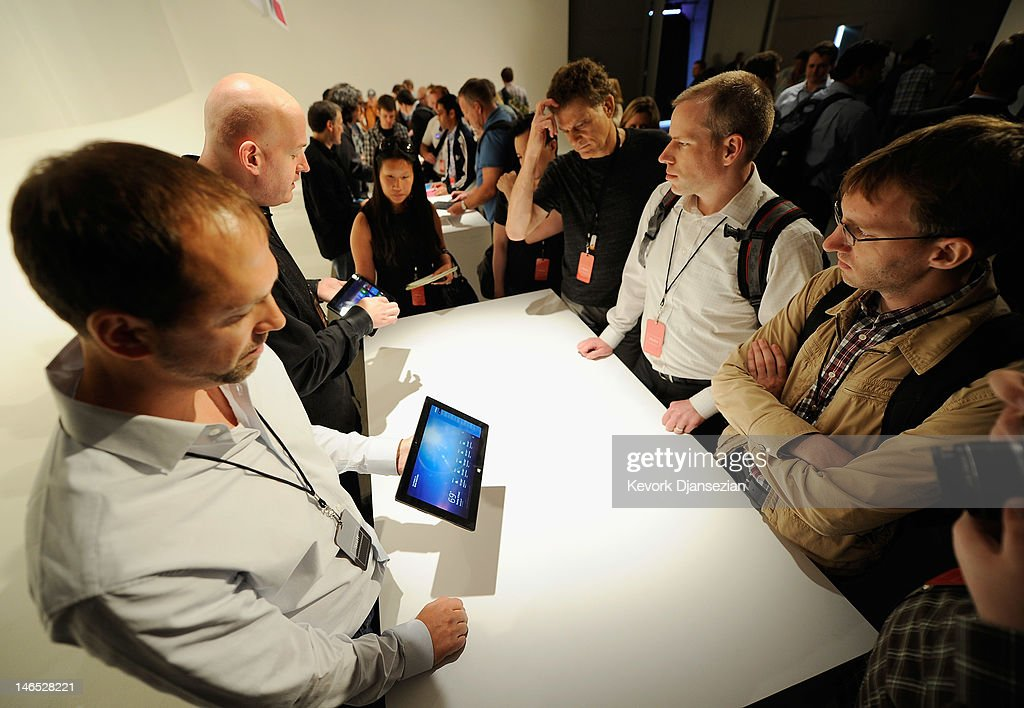 The Microsoft tablet Surface is unveiled during a news conference at Milk Studios on June 18, 2012 in Los Angeles, California. The new Surface tablet utilizes a 10.6 inch screen with a cover that contains a full multitouch keyboard.
