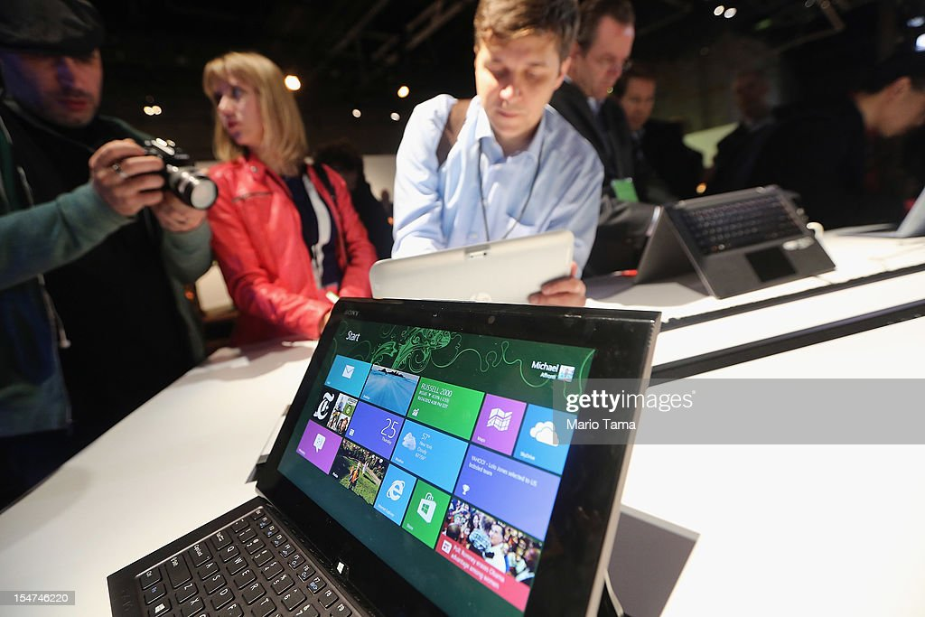 The Microsoft Windows 8 operating system is on display at a press conference on October 25, 2012 in New York City. Windows 8 offers a touch interface in an effort to bridge the gap between tablets and personal computers.