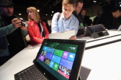The Microsoft Windows 8 operating system is on display at a press conference on October 25 2012 in New York City Windows 8 offers a touch interface...