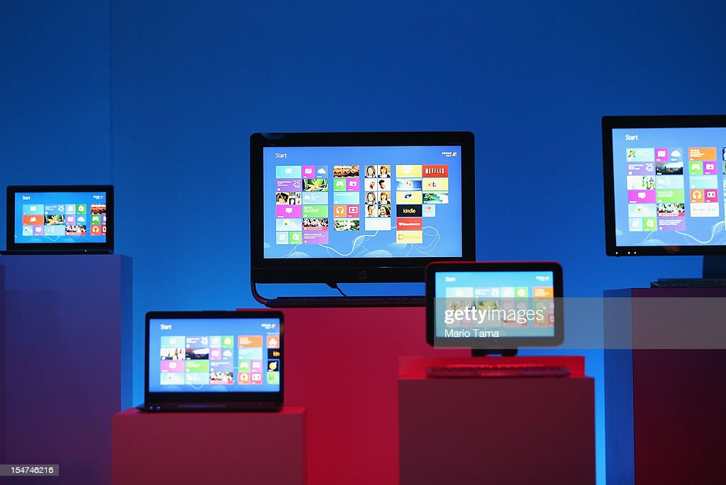 The Microsoft Windows 8 operating system is unveiled at a press conference on October 25, 2012 in New York City. Windows 8 offers a touch interface in an effort to bridge the gap between tablets and personal computers.