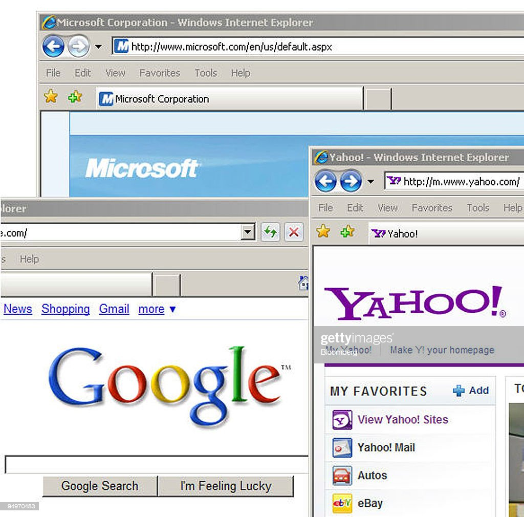 The microsoftcom yahoocom and googlecom web pages are displayed on a computer screen in New York US on July 29 2009 Microsoft Corp and Yahoo Inc...