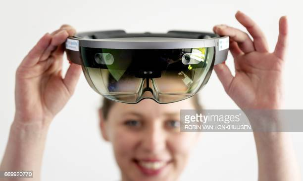 The Microsoft's HoloLens a mixed reality smartglas is seen at Montapacking in Molenaarsgraaf on April 18 2017 With the glasses lifelike projections...