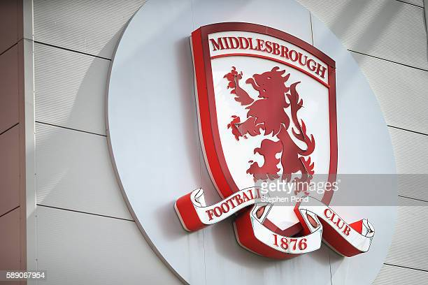 The Middlesbrough logo on the exterior of the stadium during the Premier League match between Middlesbrough and Stoke City at Riverside Stadium on...