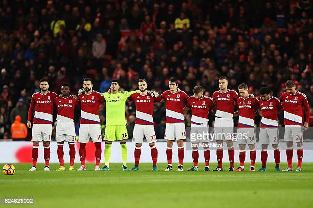 The Middlesbrough team line up for a minutes silence during the Premier League match between Middlesbrough and Chelsea at Riverside Stadium on...