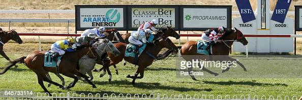 The Mighty Jrod ridden by Arron Lynch wins the ClassicBet BM58 Handicap at Ararat Racecourse on February 27 2017 in Ararat Australia