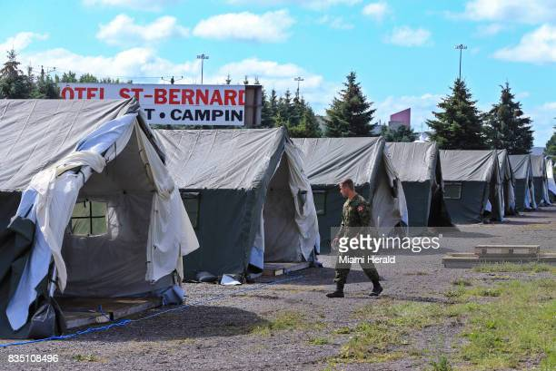 The migrant camp is expanded by the military located on the Canadian border on Saturday Aug 12 2017 Thousands of people have crossed over into Canada...