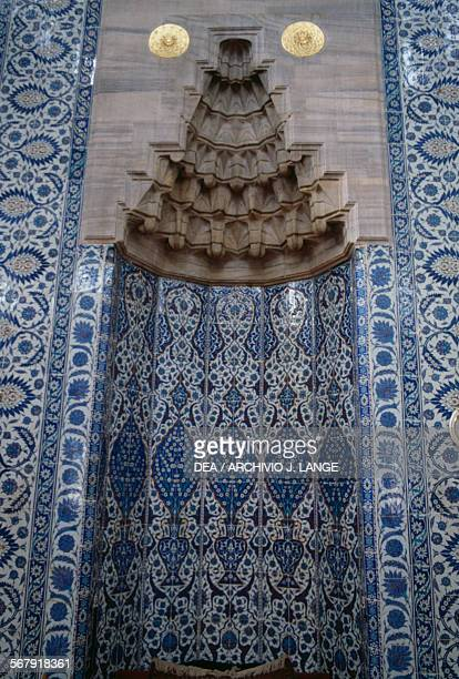 The mihrab in the Rustem Pasha Mosque 15501556 built by the architect Mimar Sinan for the grand vizier Rustem Pasha Istanbul Turkey 16th century