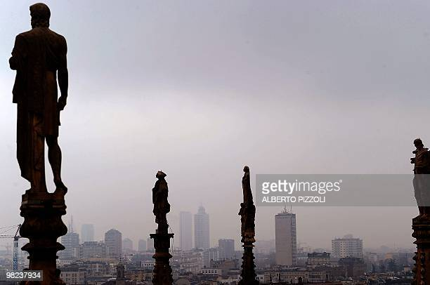 The Milan skyline is seen from the roof of Milan cathedral Dome in Milan on March 22 2010 Milan is the provincial capital of the Lombardia region...