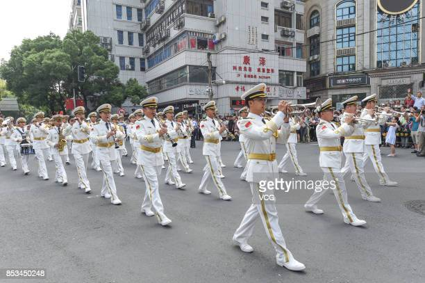 The military band of the PLA navy of China perform during the opening parade of the 5th Nanchang International Military Tattoo on September 24 2017...