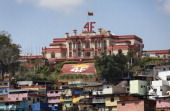 The military barracks where the former Venezuelan president Hugo Chavez is entombed stands on a hilltop overlooking the city on March 4 2014 in...